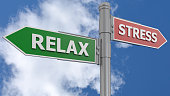 Road sign relax and stress