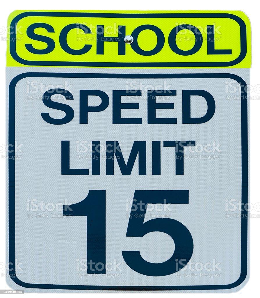Road Sign: School zone - Speed limit 15 stock photo