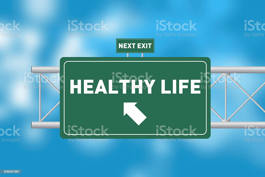 Road Sign Showing HEALTHY LIFE stock photo