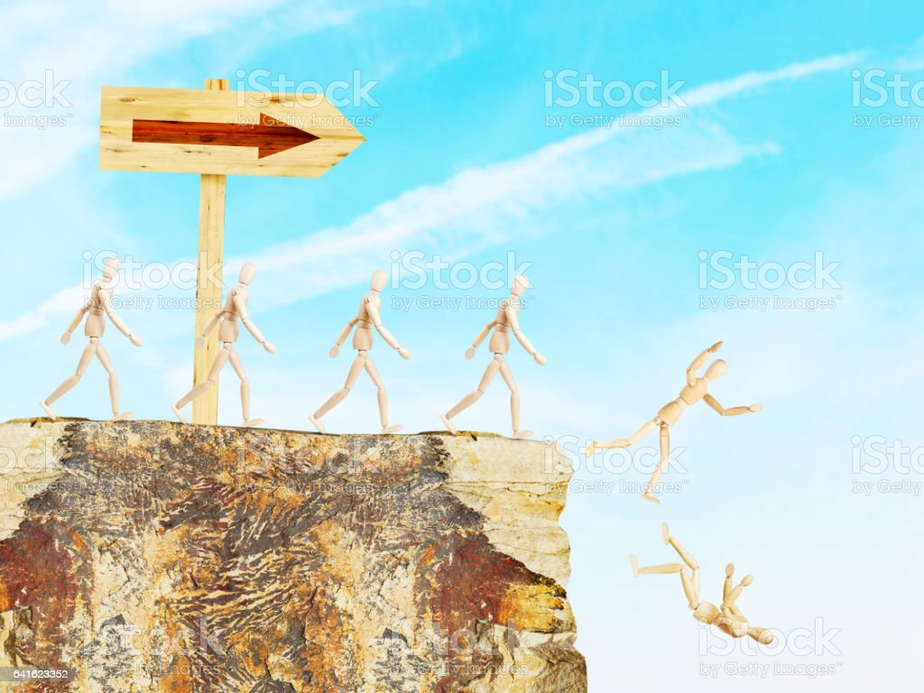 Road sign shows the way to an abyss stock photo