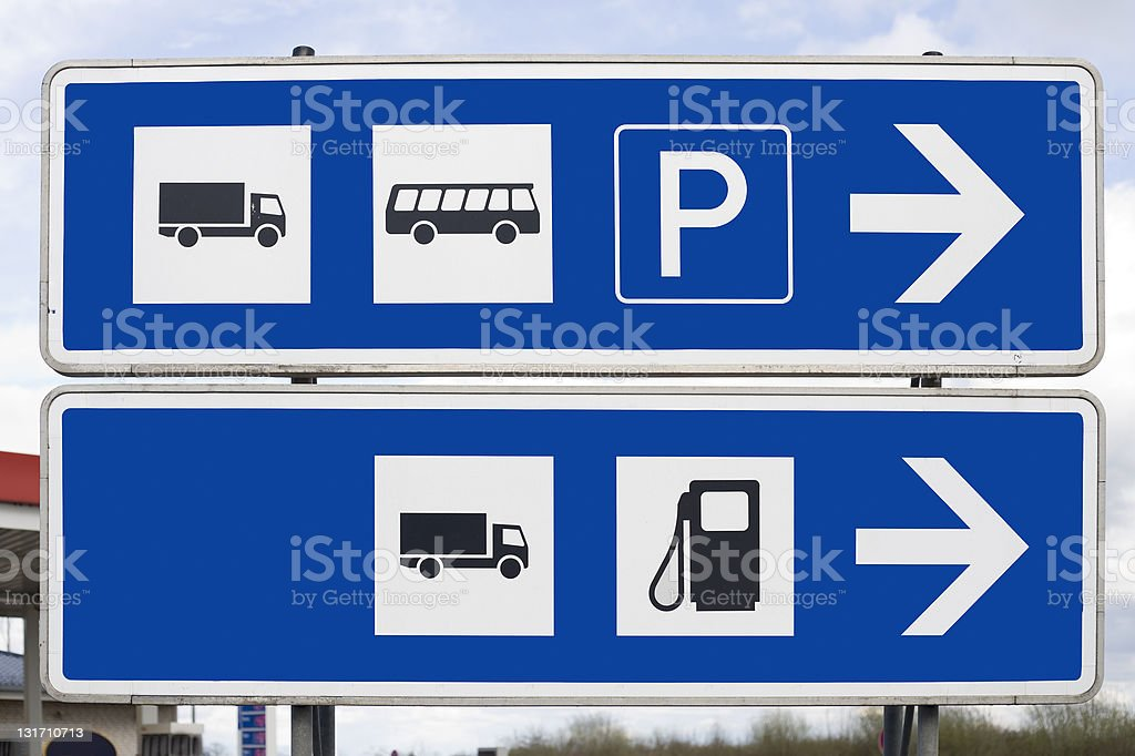 Road sign, special area for trucks and busses royalty-free stock photo