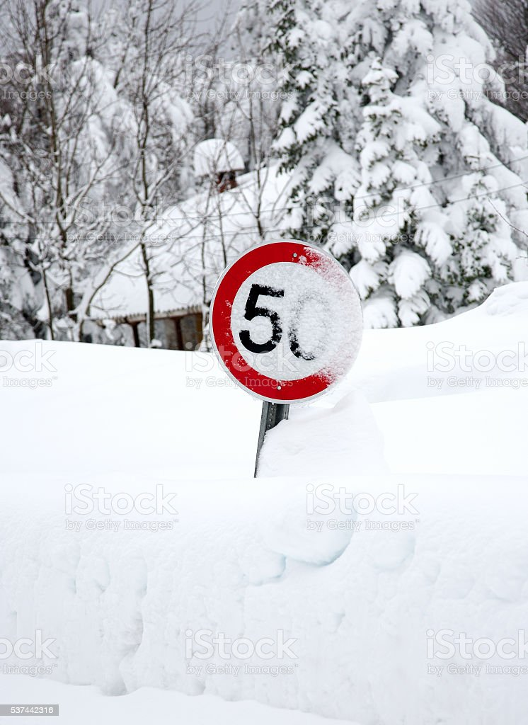 Road sign speed limit 50 km/h stock photo