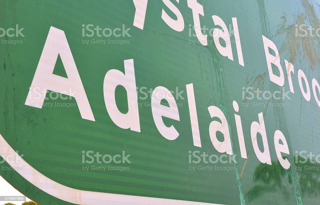 Road SIgn to Adelaide royalty-free stock photo