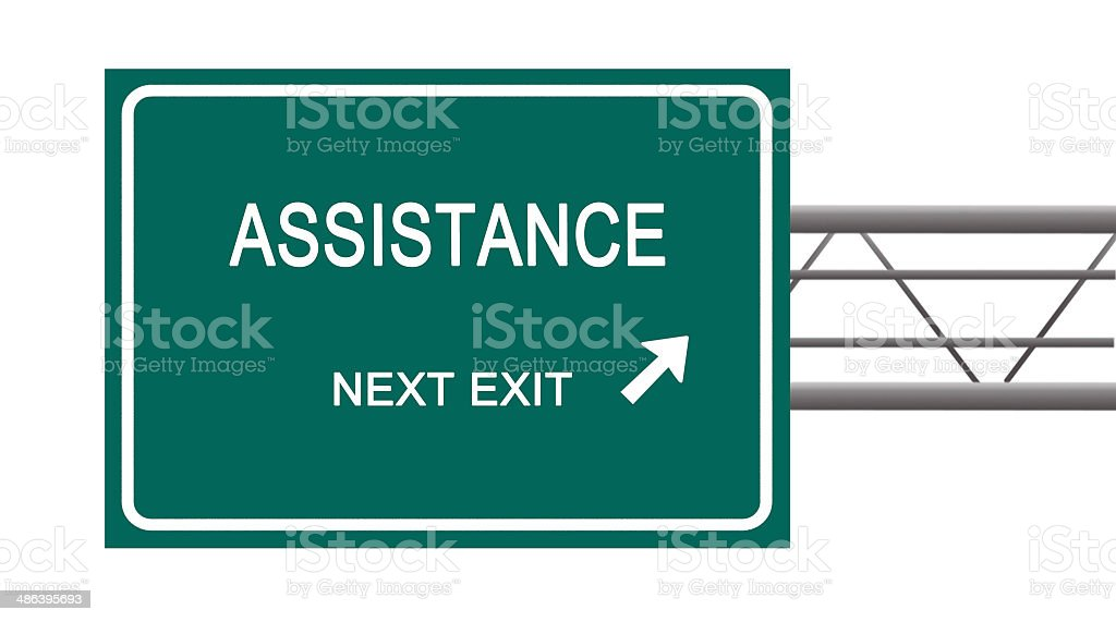 Road sign to assistance stock photo