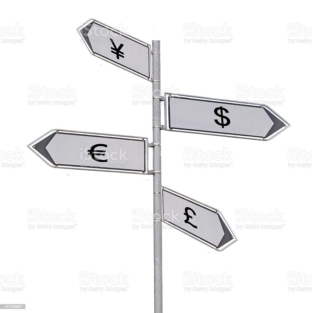 Road sign to currencies royalty-free stock photo