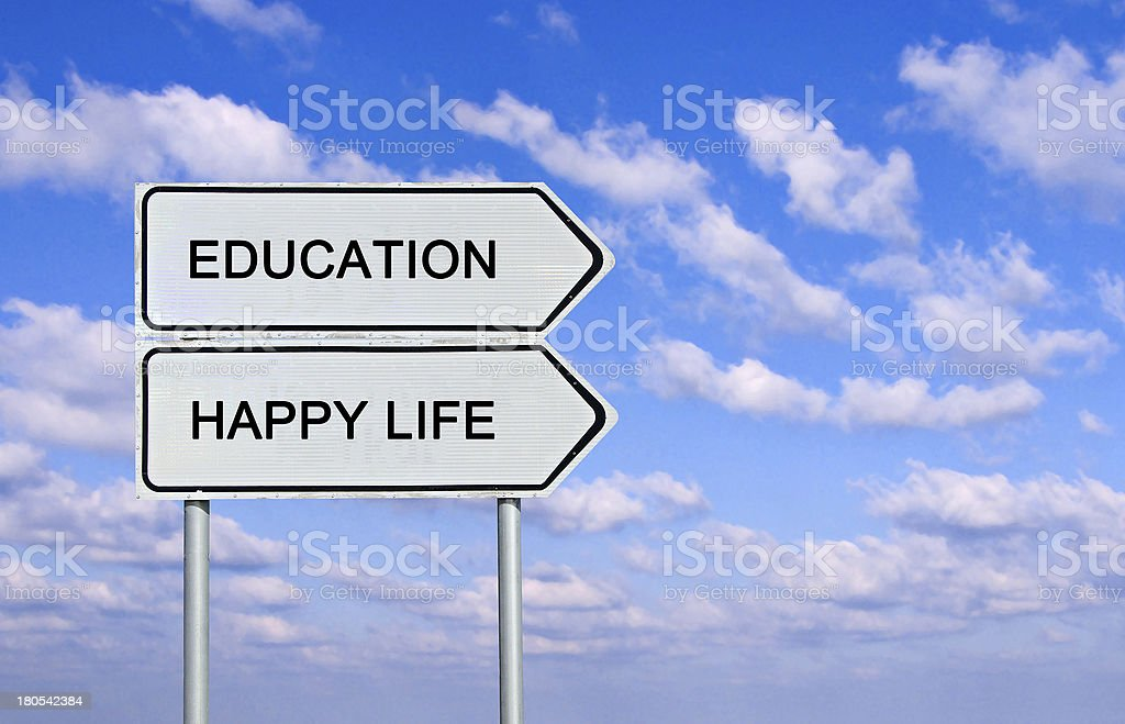 Road sign to eduacation , ,happy life, and good job stock photo
