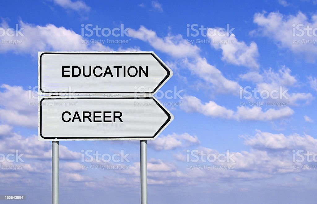 Road sign to  education and career stock photo