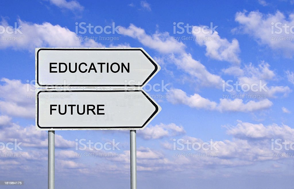 Road sign to  education and future stock photo