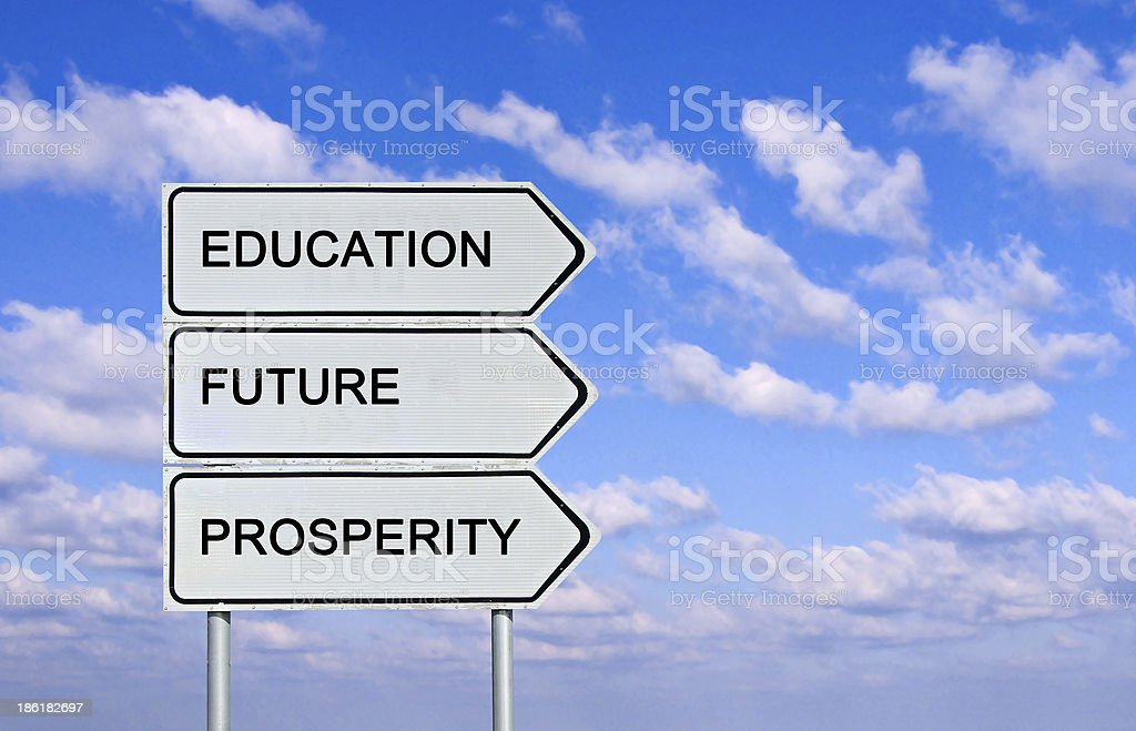 Road sign to  education,prosperity, and future stock photo