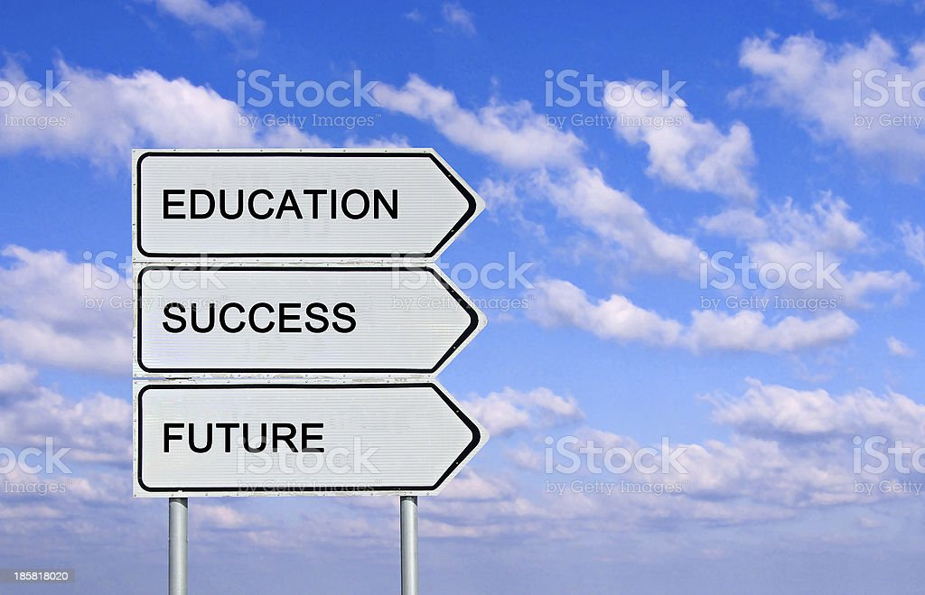 Road sign to  education,success, and future stock photo