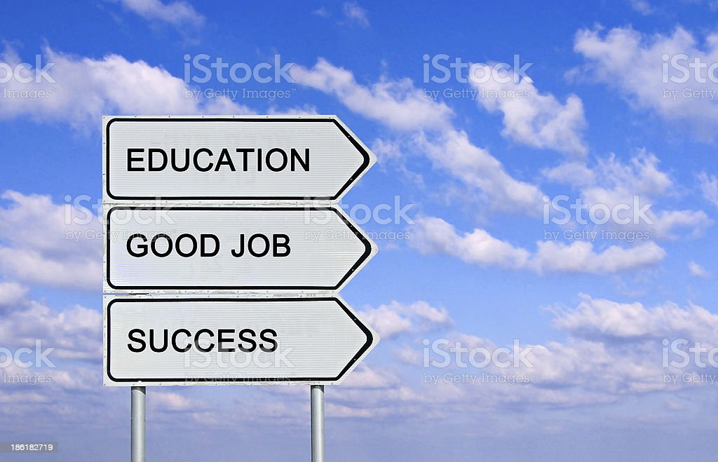 Road sign to  education,success, and good job stock photo