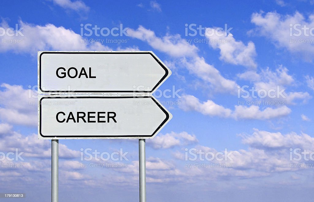 Road sign to  goal and career stock photo