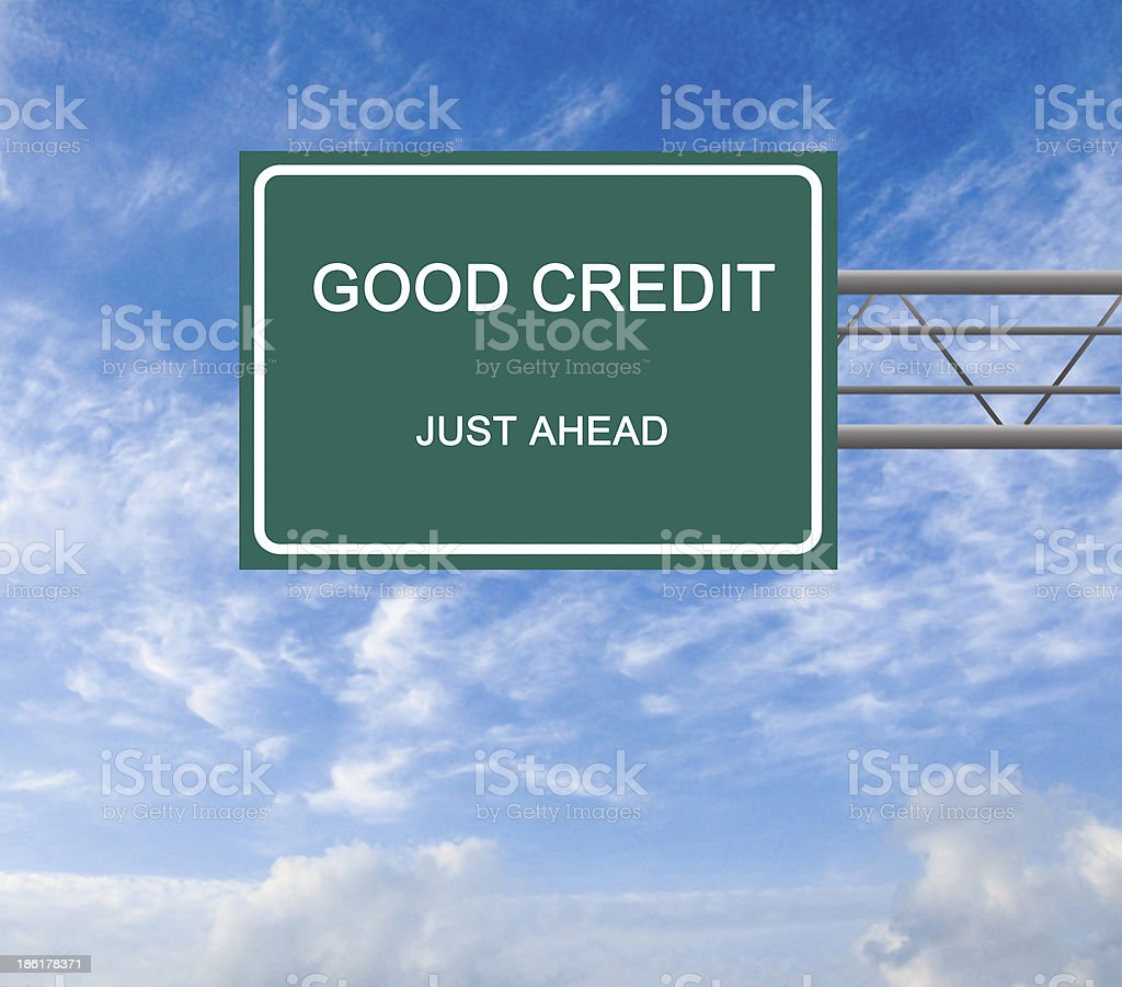 Road sign to good credit stock photo