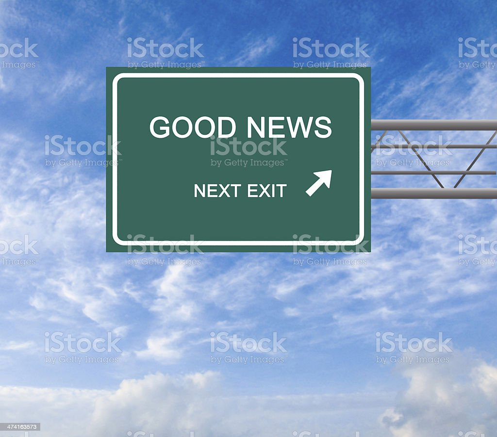Road sign to good news stock photo