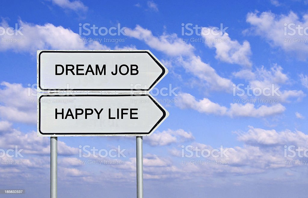 Road sign to  happy life and dream job stock photo