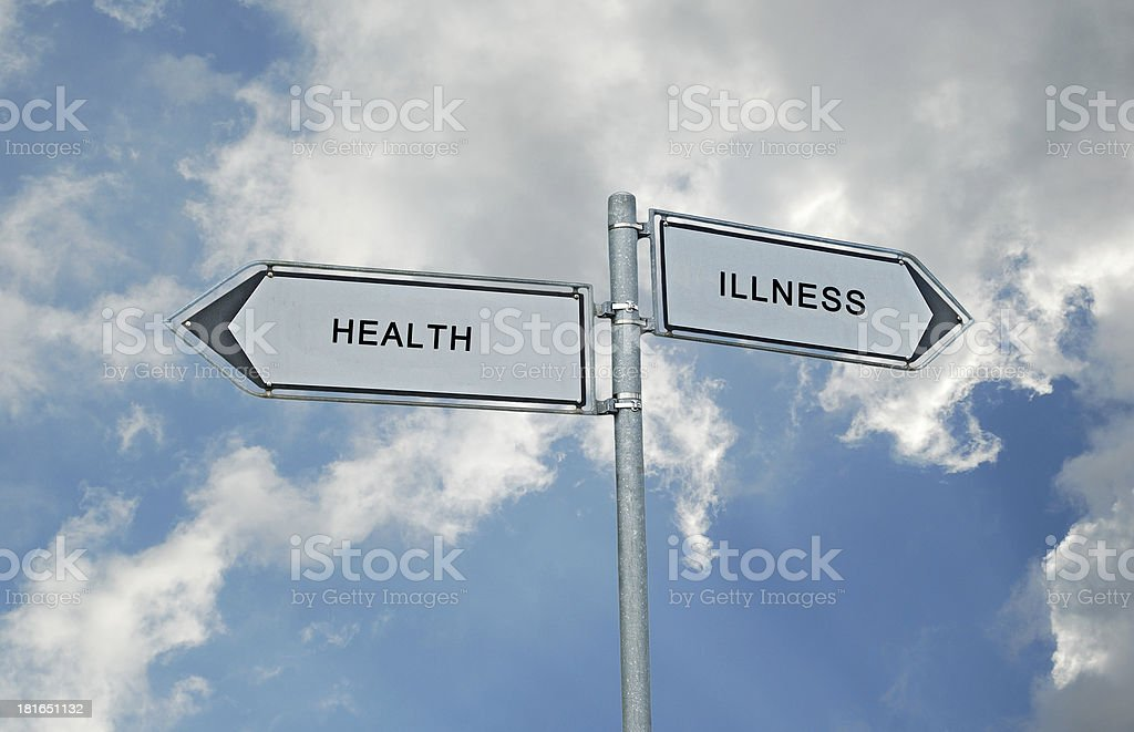 Road sign to health and illnesss stock photo