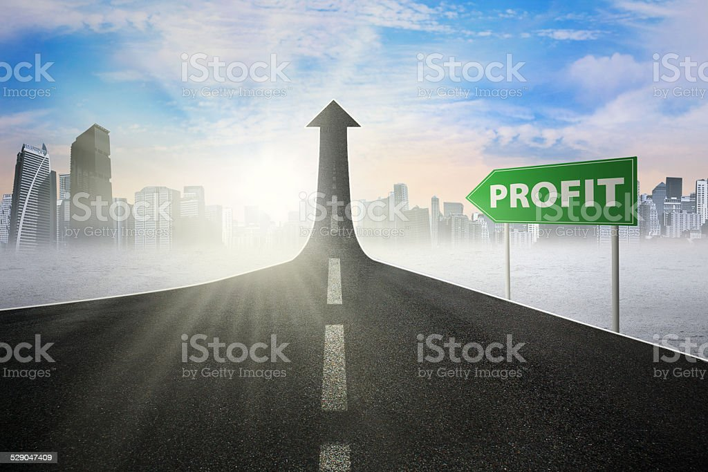 Road sign to increase profit stock photo