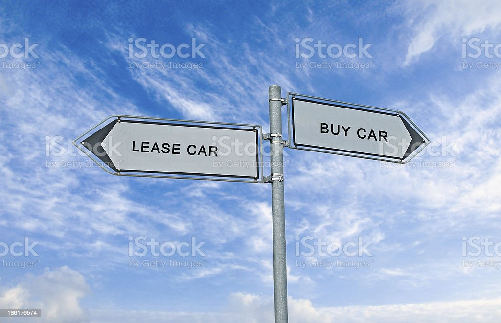 Road sign to lease and buy car royalty-free stock photo