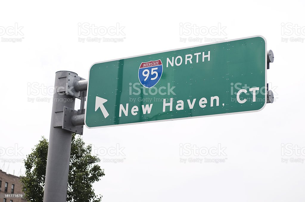 Road Sign to New Haven stock photo