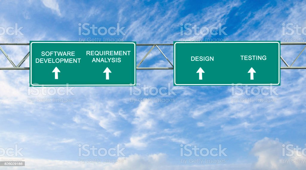 road sign to software development stock photo