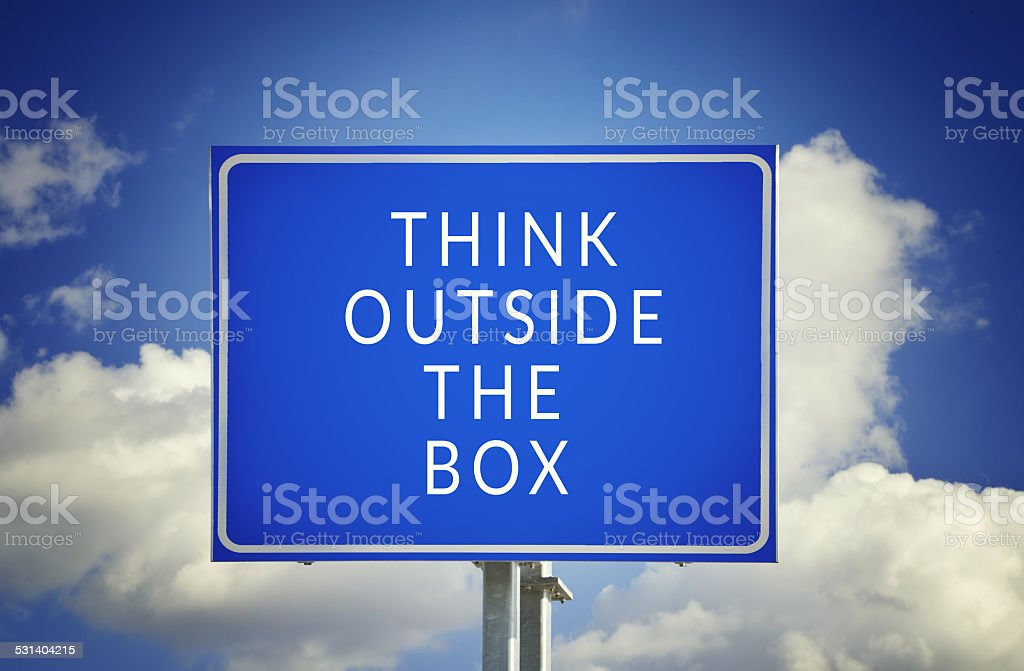 Road sign to thinking outside the box great brilliant idea stock photo