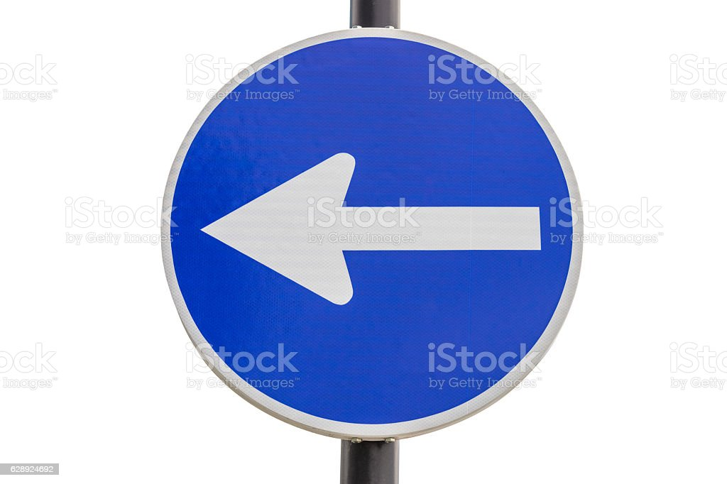 road sign traffic to the left isolated on white background stock photo
