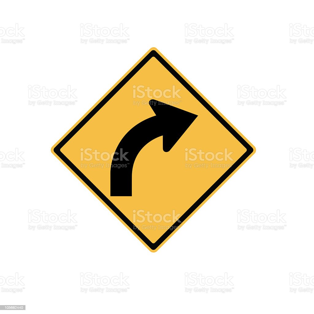 Road sign Turn right isolated on white background royalty-free stock photo