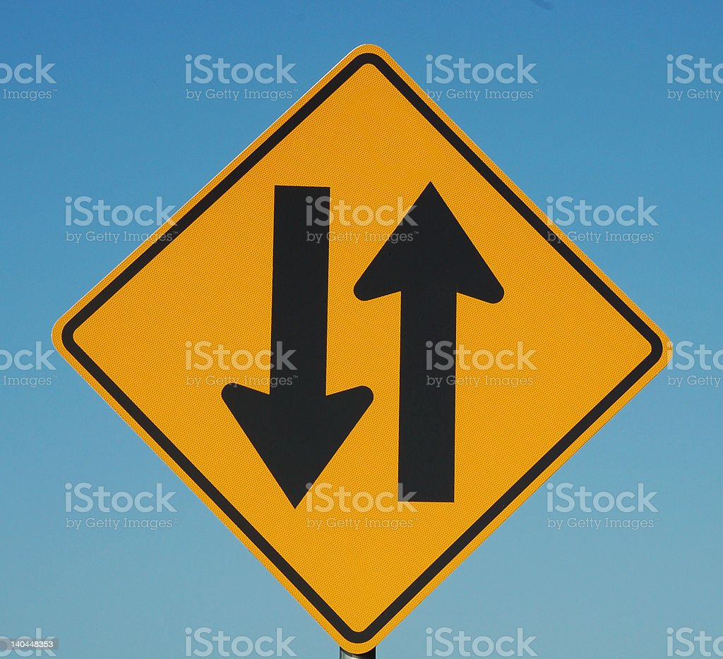 Road Sign  - Two Way Traffic Ahead royalty-free stock photo