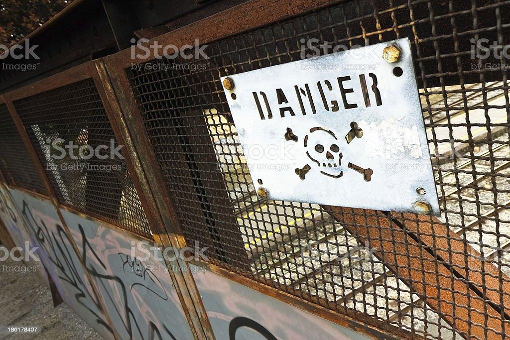 Road sign warning of danger royalty-free stock photo