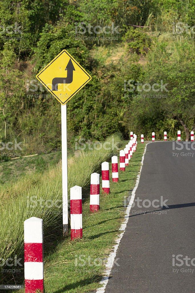 Road sign warns royalty-free stock photo