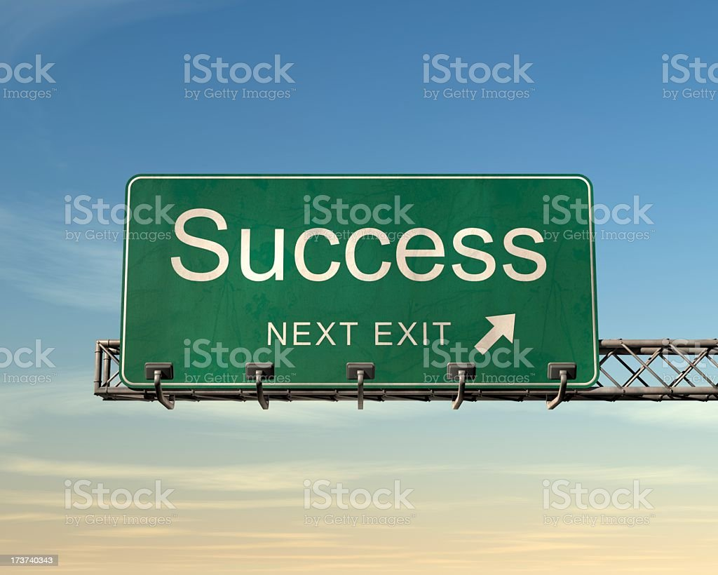 A road sign where the next exit leads to success royalty-free stock photo