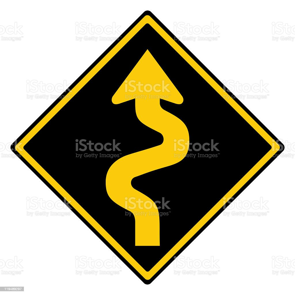 Road sign winding road in reverse colours isolated on white royalty-free stock photo