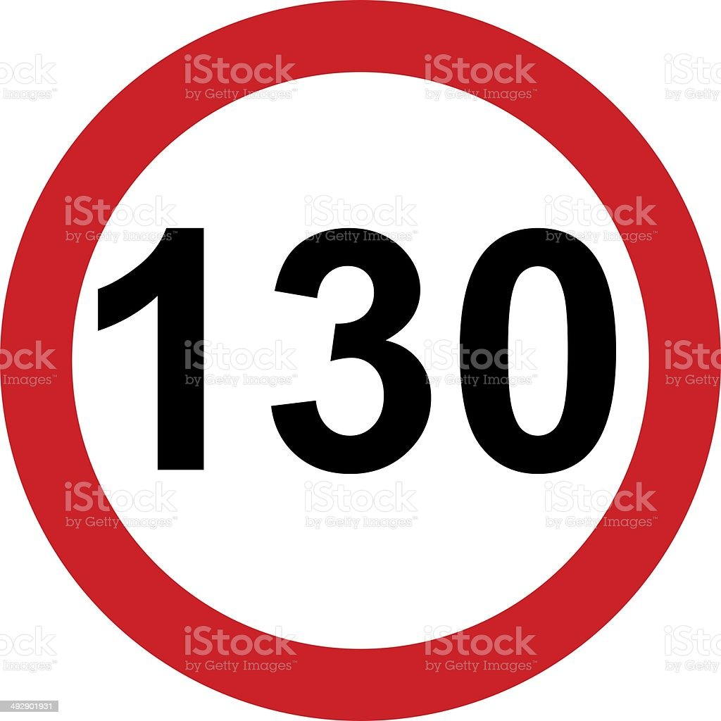 Road sign with 130 speed limitation stock photo