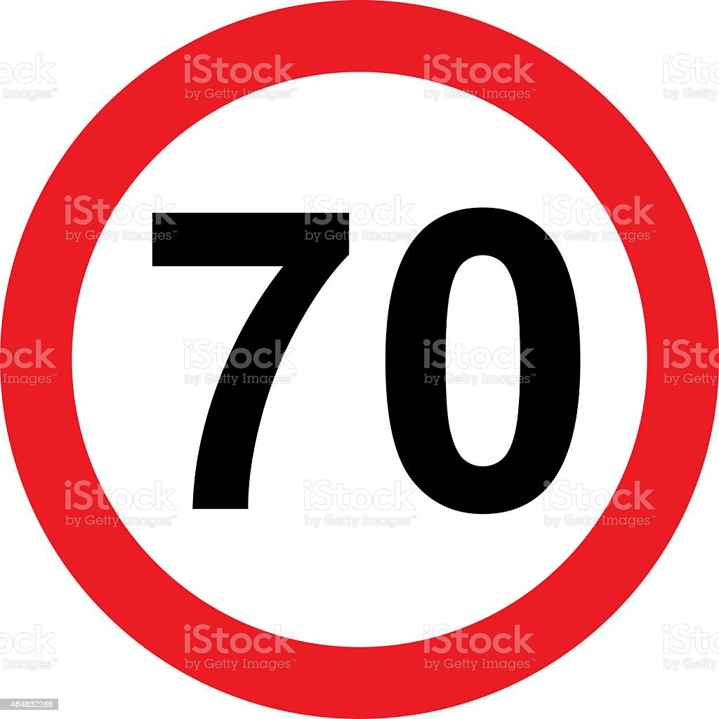 Road sign with 70 speed limitation stock photo