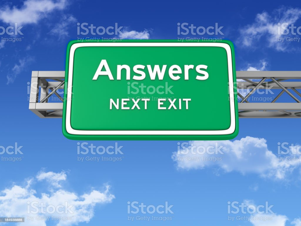 Road Sign with ANSWERS and Sky royalty-free stock photo