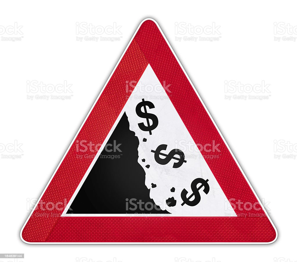 Road Sign with falling dollar currency symbols. royalty-free stock photo