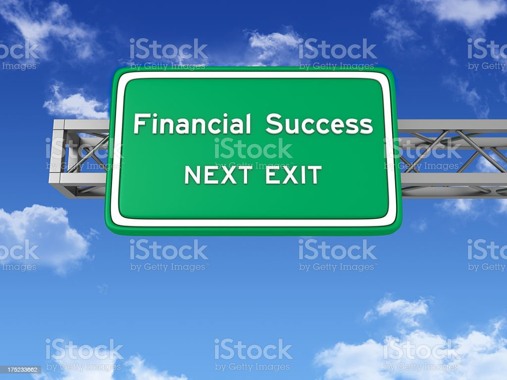 Road Sign with FINANCIAL SUCCESS and Sky royalty-free stock photo