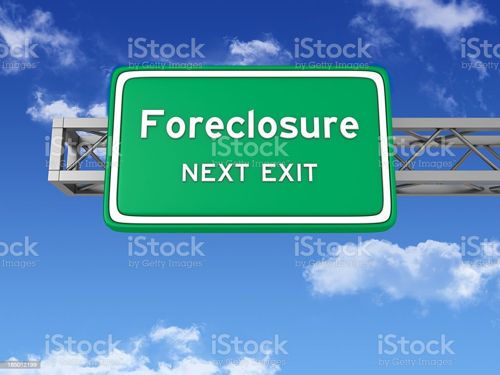 Road Sign with FORECLOSURE and Sky stock photo