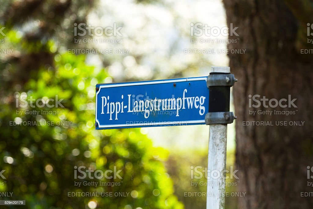 Road sign with name Pippi Langstrumpf stock photo