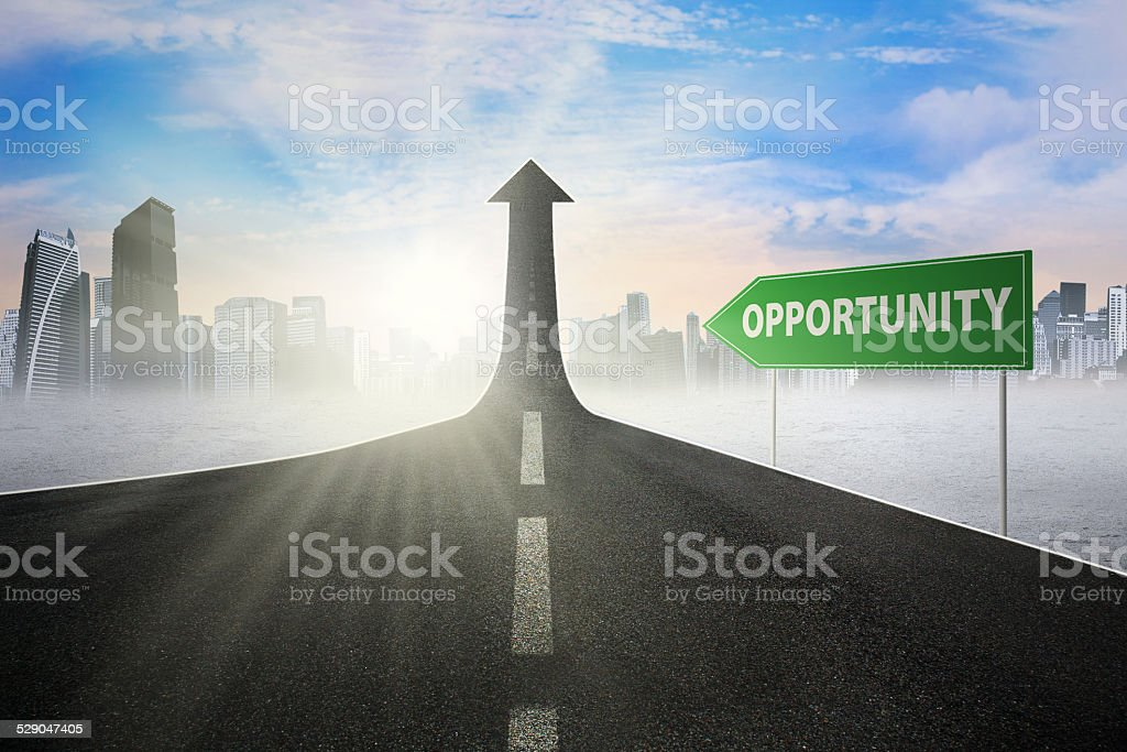 Road sign with opportunity text stock photo