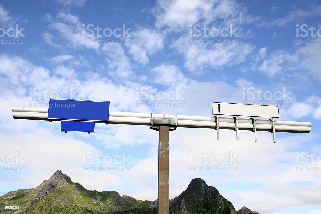 road sign with place for copy stock photo