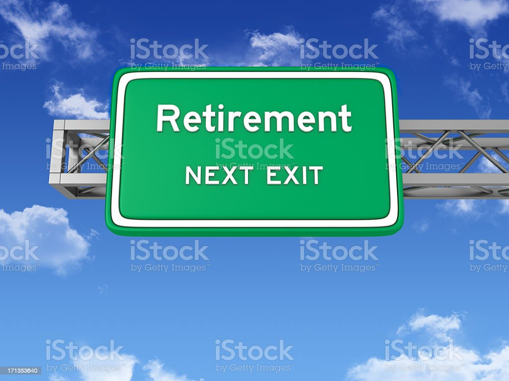 Road Sign with RETIREMENT and Sky stock photo