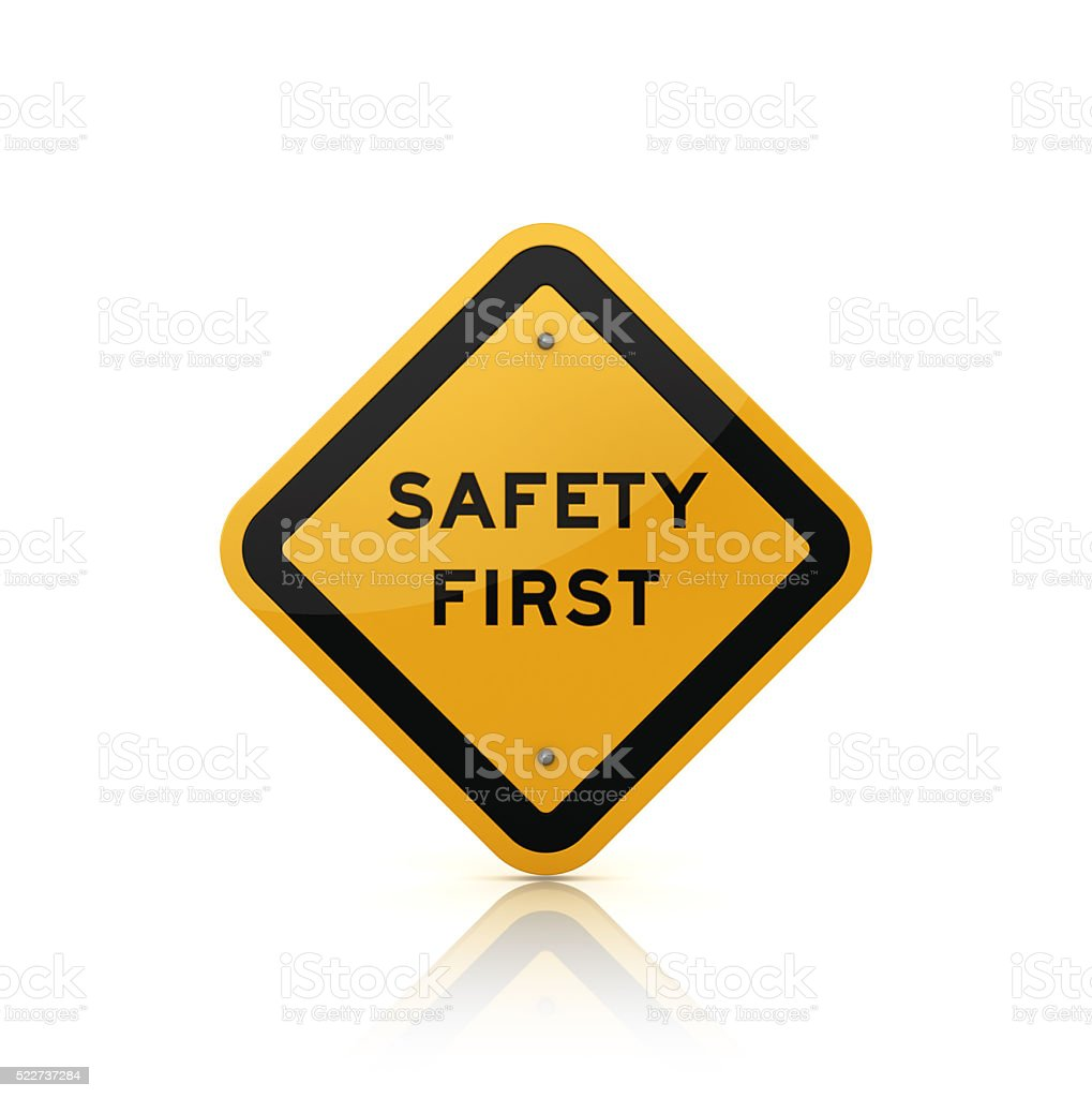 Road Sign with SAFETY FIRST Text stock photo