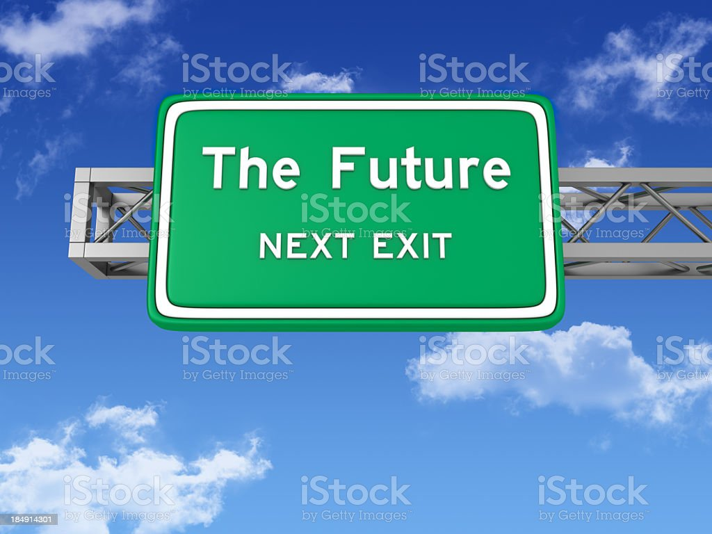Road Sign with THE FUTURE and Sky stock photo