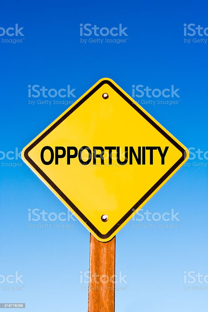 Road Sign with the Word 'OPPORTUNITY' stock photo