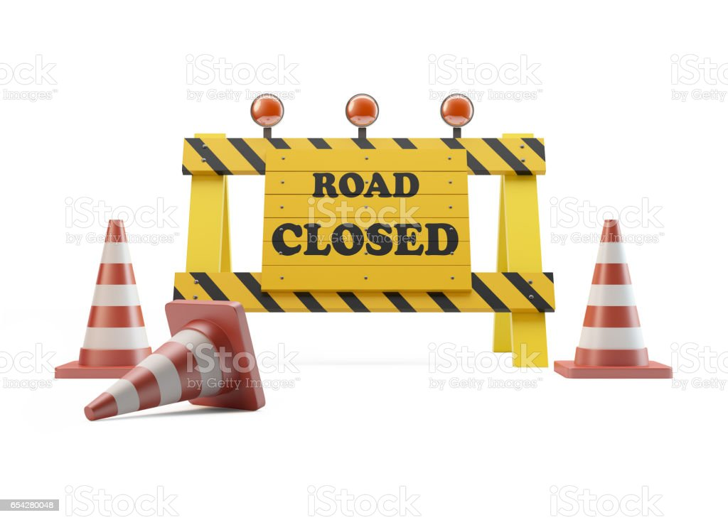 Road Sign With Traffic Cone On White Background stock photo