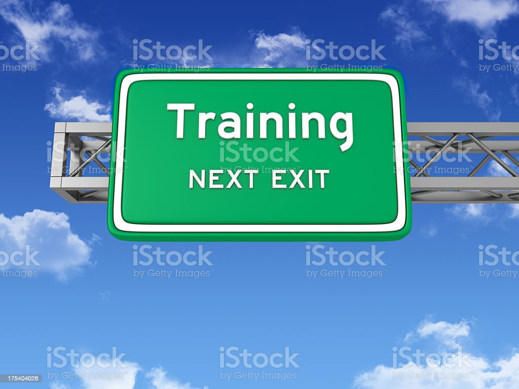 Road Sign with TRAINING and Sky royalty-free stock photo