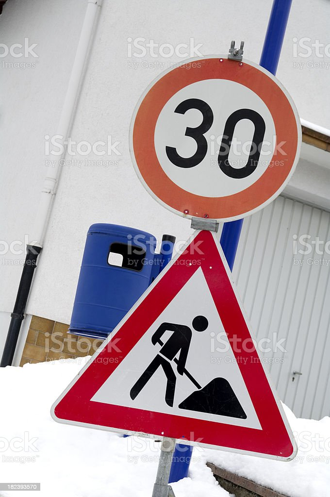 Road Sign: Work in Progress royalty-free stock photo