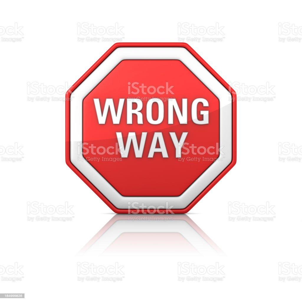 Road Sign - WRONG WAY stock photo