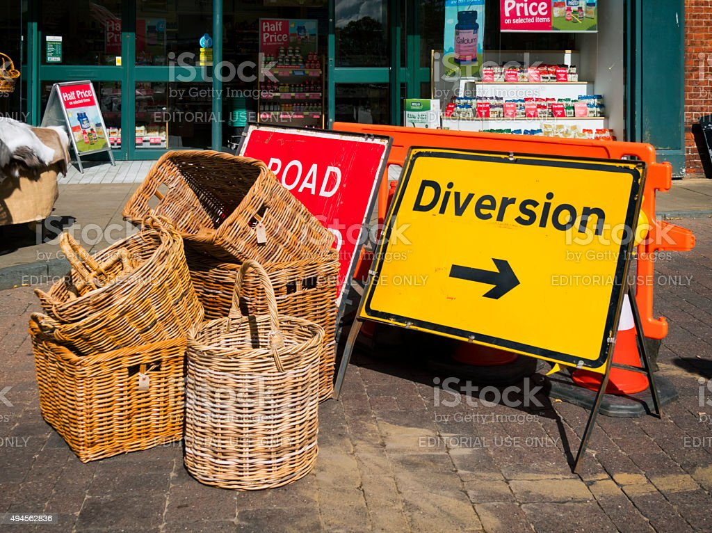 Road signs and baskets stock photo